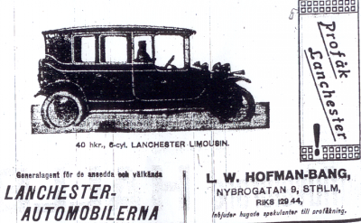 Advertisement for Lanchester motorcar